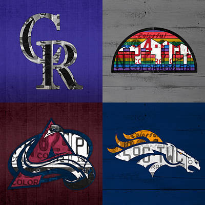 Denver Sports Fan Recycled Vintage Colorado License Plate Art Rockies Nuggets Avalanche Broncos Poster