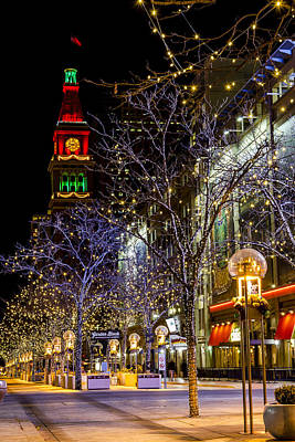 Denver's 16th Street Mall During Holidays Poster by Teri Virbickis