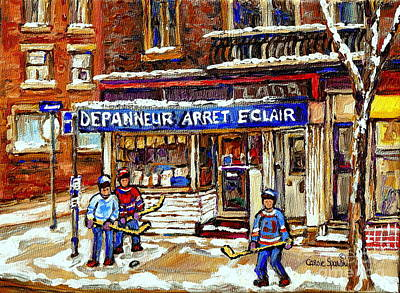 Depanneur Arret Eclair Verdun Rue Wellington Montreal Paintings Original Hockey Art Sale Commissions Poster by Carole Spandau