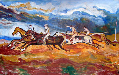 Poster featuring the painting Derby Race Horses by Anand Swaroop Manchiraju