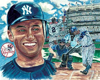 Derek Jeter 3000 Hit Poster by Israel Torres