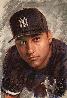 Poster featuring the drawing Derek Jeter by Viola El