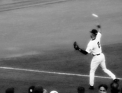 Derek Jeter Warming Up Before A Game - Full Black And White Poster by Aurelio Zucco