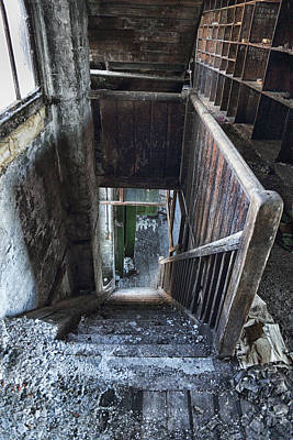 Derelict Staircase Leads Downstairs Poster by Russ Dixon