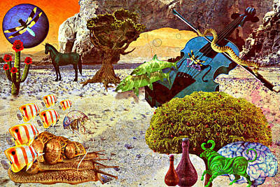Poster featuring the mixed media Desert Blues by Ally  White