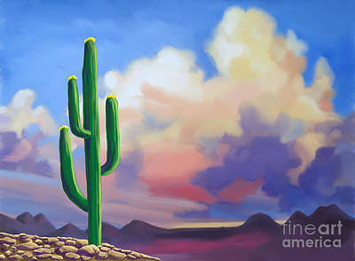 Poster featuring the painting Desert Cactus At Sunset by Tim Gilliland