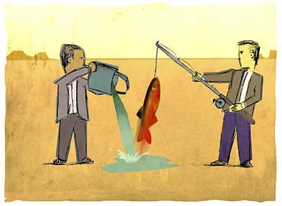Desert Fishing Poster by Steve Dininno