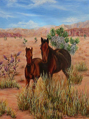 Poster featuring the painting Desert Horses by Roseann Gilmore