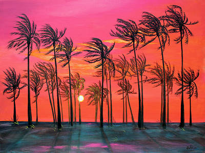 Desert Palm Trees At Sunset Poster