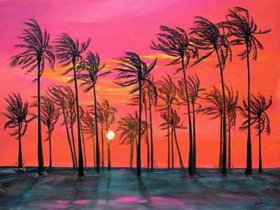 Desert Palm Trees At Sunset Poster