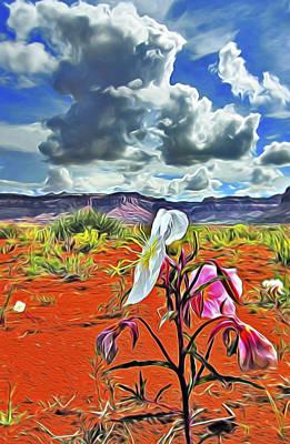 Poster featuring the digital art Desert Primrose 3 by William Horden