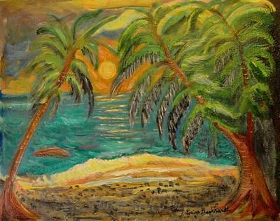 Deserted Tropical Sunset Poster by Louise Burkhardt