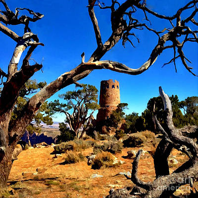 Desertview Watchtower Grand Canyon Poster by Bob and Nadine Johnston