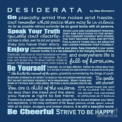 Desiderata - Blue Poster