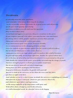Desiderata Blue Sky Pink Clouds Poster by Barbara Griffin