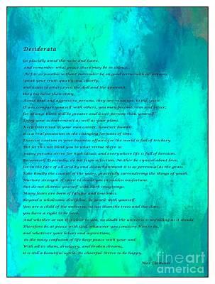 Desiderata Blue Watercolor Poster by Barbara Griffin