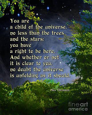 Desiderata - Child Of The Universe - Trees Poster
