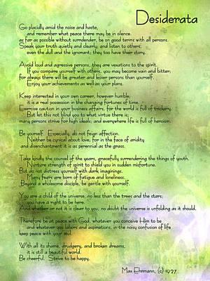 Desiderata - Inspirational Poem Poster