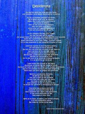 Desiderata On Blue Poster by Leena Pekkalainen