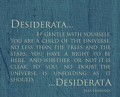 Desiderata On Canvas Poster by Dan Sproul