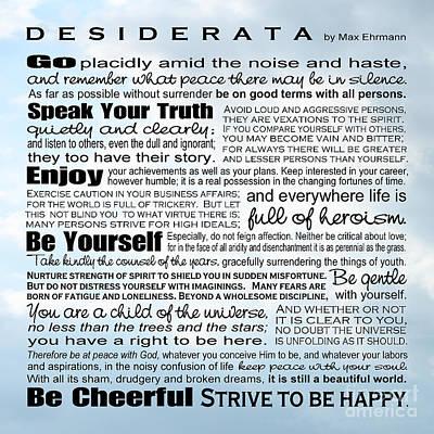 Desiderata - Square Sky Poster