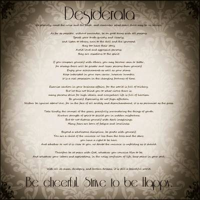 Desiderata - Vintage Sepia Poster by Marianna Mills