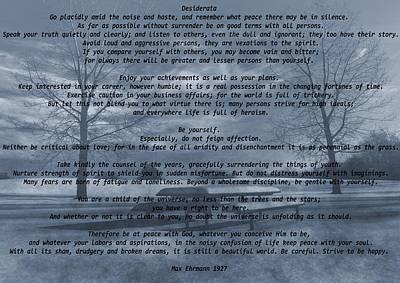 Desiderata Winter Scene Poster