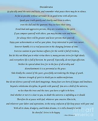 Desiderata With Blue Sky And Rainbow Poster by Barbara Griffin