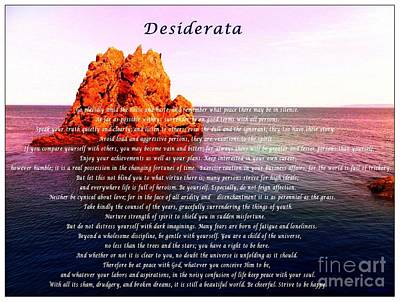 Desiderata With Ocean And Red Rock At Sunset Poster by Barbara Griffin
