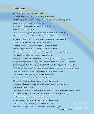 Desiderata With Rainbow Poster by Barbara Griffin