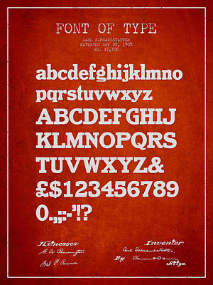 Design For A Font Of  Type Patent Drawing From 1905 - Red Poster by Aged Pixel