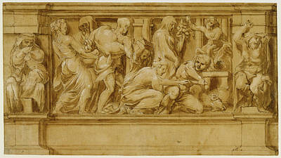 Design For A Frieze With Worshipers Bringing Sacrificial Poster