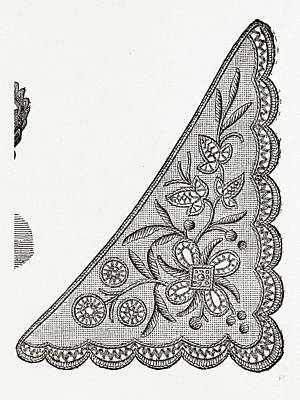 Design For Collarette, Needlework, 19th Century Embroidery Poster
