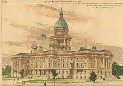 Design For The State House Olympia Washington 1894 Poster by William Cowe and gf Harvey Architects