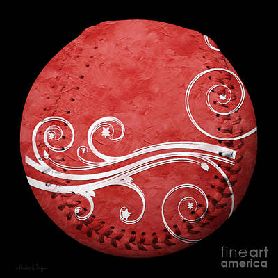 Designer Red Baseball Square Poster by Andee Design