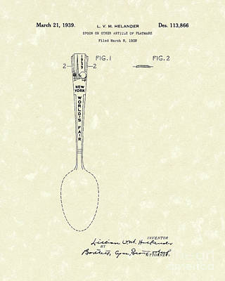 Designer Spoon 1939 Patent Art Poster by Prior Art Design