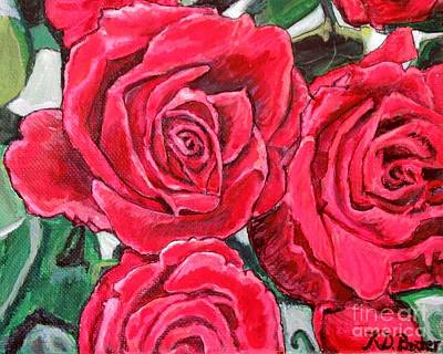 Detail Of The Delight Of Grandma's Roses Painting Poster by Kimberlee Baxter