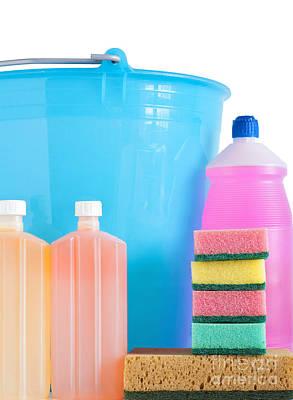 Detergent Bottles Bucket And Sponges Poster