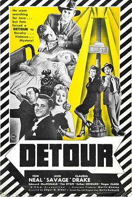 Detour - 1945 Poster by Georgia Fowler