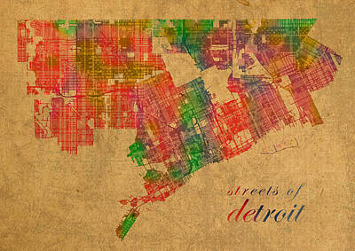 Detroit Michigan Street Map Schematic Watercolor On Worn Parchment Poster by Design Turnpike