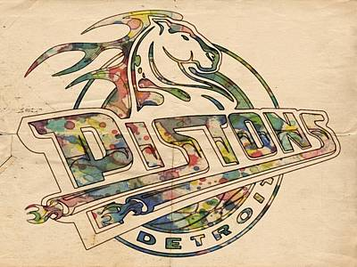 Detroit Pistons Retro Poster Poster by Florian Rodarte