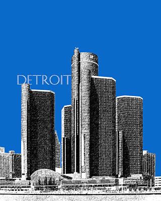 Detroit Skyline 1 - Blue Poster