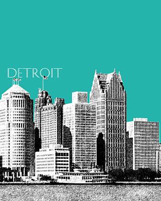 Detroit Skyline 3 - Teal Poster