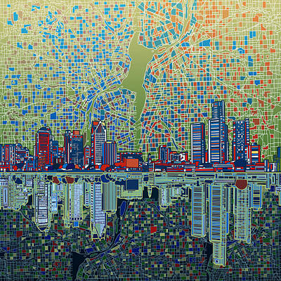 Detroit Skyline Abstract 3 Poster by Bekim Art