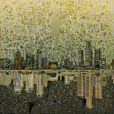 Detroit Skyline Abstract 4 Poster by Bekim Art