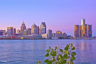 Detroit Skyline At Sunset Poster by Bill Woodstock