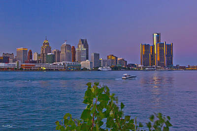 Detroit Skyline At Twilite With Boat Poster by Bill Woodstock