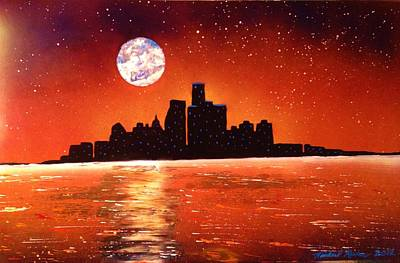 Poster featuring the painting Detroit Skyline by Michael Rucker