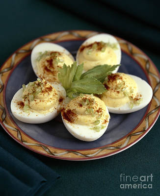 Deviled Eggs With Celery Poster by Iris Richardson
