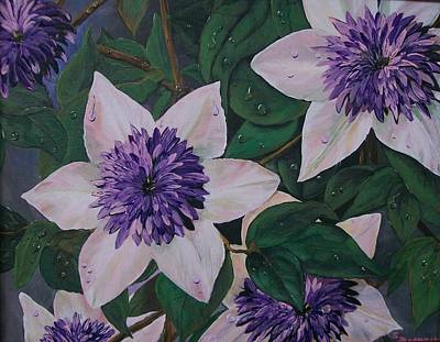 Poster featuring the painting Clematis After The Rain by Sharon Duguay